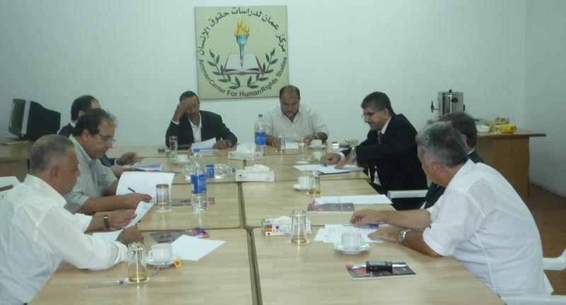 جانب من الاجتماع الذي عقدة التحالف الأردني لمناهضة عقوبة الاعدام في الاردن في مقر مركز عمان لدراسات حقوق الانسان