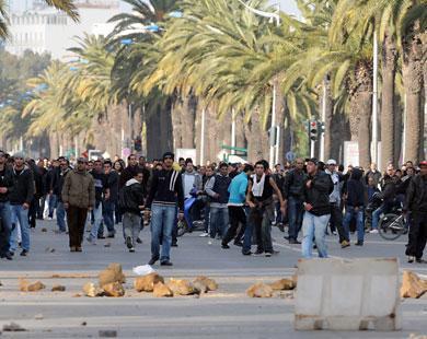 متظاهرون بشارع محمد الخامس