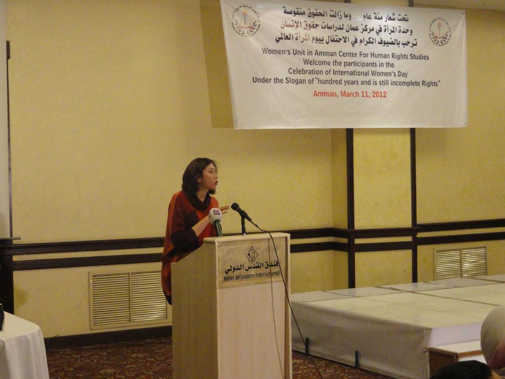 الاستاذة  نور الامام رئيسة لجنة المرأة في نقابة المحامين الأردنيين